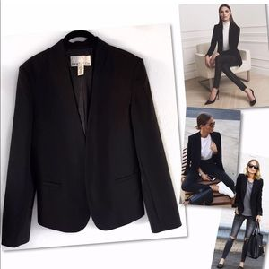 BAR III FRONT ROW COLLARLESS BLACK OPEN BLAZER L